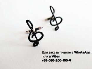 Запонки Скрипичный ключ черный с камнем скрипічний ключик женские запонки