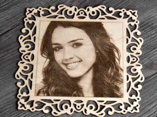 оригинальный подарок портрет на фанере с рамкой