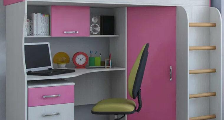 Кровать Чердак со столом и шкафом (80х190)