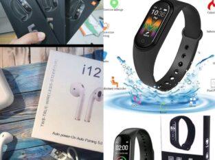 Фитнес-набор к Новому году! Беспроводные наушники TWS i12+ Фитнес браслет Smart Band M5