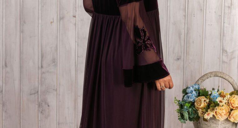 Нарядное платье велюровое платье 50 бордо