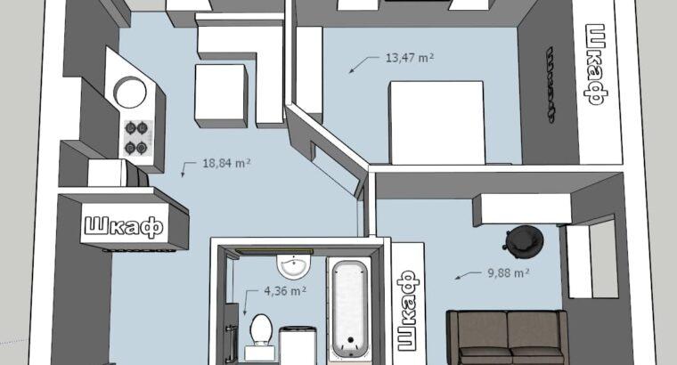 Продам 2-х комнатную квартиру 45 кв. м. Холодная гора