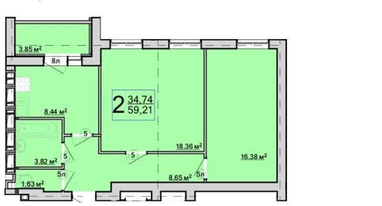 Продам 2х комнатную квартиру в ЖК Птичка